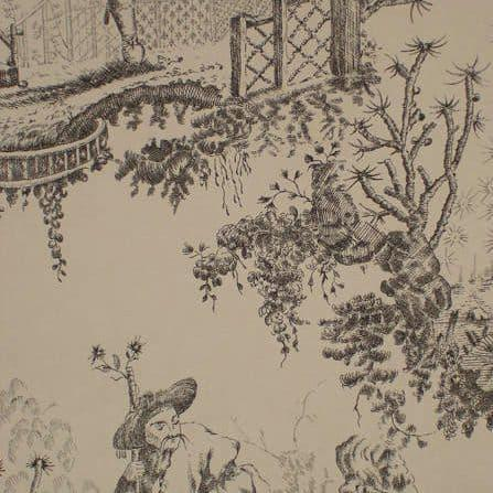 На фото Lewis&Wood  Classic Wallpapers CHINESETOILE-CHARCOALBLAC
