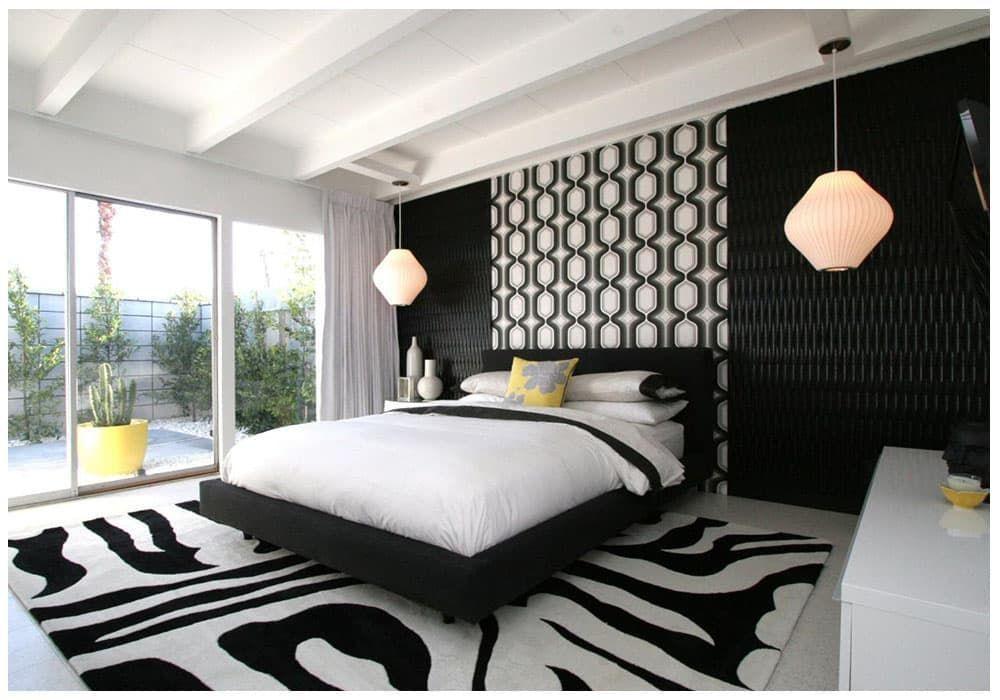 Интерьер комнаты в черно белых тонах фото